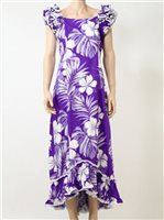 PL 334-3589 Ruffle Long Muumuu [Purple]