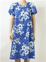 TP 907C [Crack Hibiscus / Blue] Mid-Length Dress