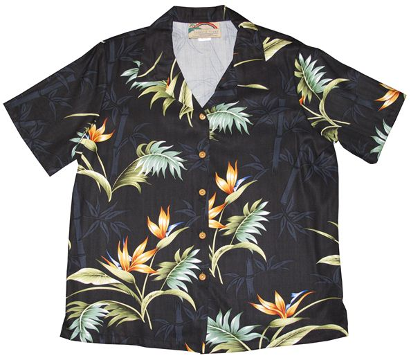 Bamboo Paradise Black Rayon Women's Hawaiian Shirt
