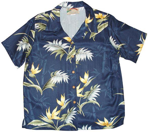 Bamboo Paradise Navy Rayon Women's Hawaiian Shirt