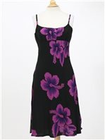 Spaghetti Strap Middle Dress [Big Hibiscus / Black & Purple]