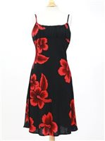 Spaghetti Strap Middle Dress [Big Hibiscus / Black & Red]