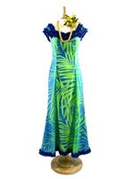 [Exclusive]Nahenahe Ruffle Long Dress [Ginger / Lime & Turquoise]