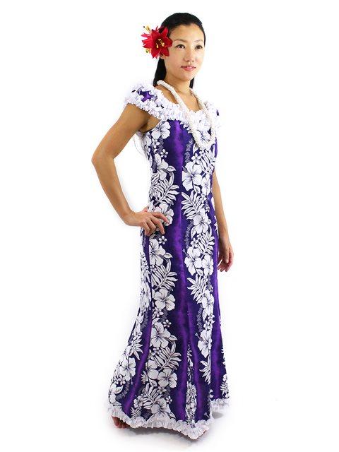 Royal hawaiian creations hibiscus fern panel purple poly for Plus size hawaiian wedding dresses