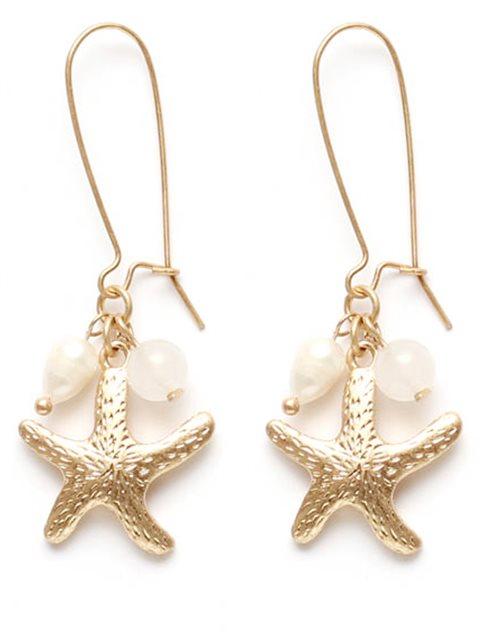 Splendid Iris Pearl Crystal Beads Large Gold Starfish Earrings
