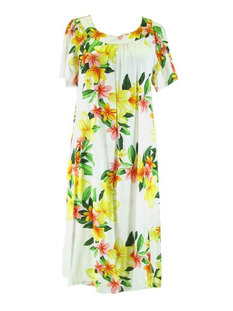 [Plus Size] Nadina White Rayon Hawaiian Midi Muumuu Dress