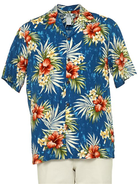 Hibiscus Plumeria Fern Blue Rayon Men's Hawaiian Shirt
