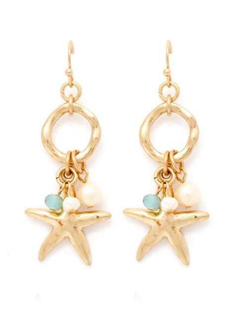 Splendid Iris Pearl Gold Starfish Earrings AlohaOutlet