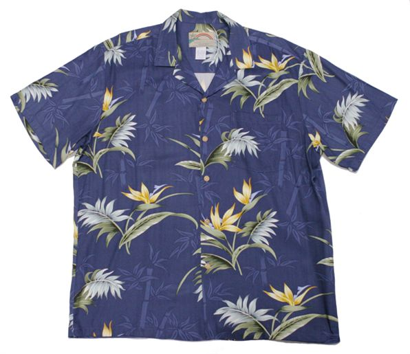 Bamboo Paradise Navy Rayon Men's Hawaiian Shirt