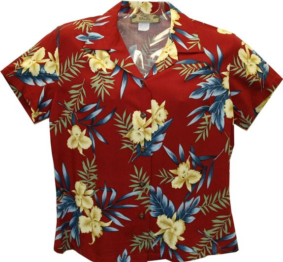 Orchid Fern Red Rayon Women's Hawaiian Shirt