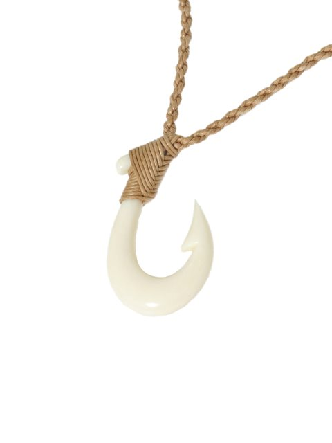 Hawaiian Maori Bone Plain Fish Hook Necklace Alohaoutlet