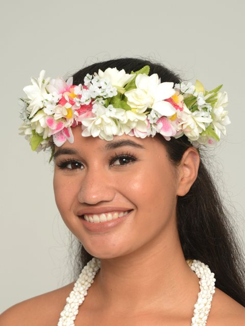 White Rose Wedding Headband Haku Lei