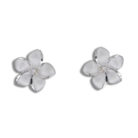 Paradise Collection 14kt White Gold Plumeria Pierced Earrings Alohaoutlet