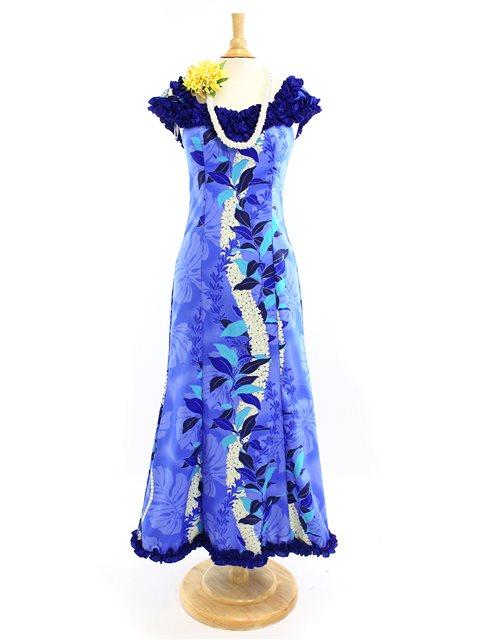 Royal Hawaiian Creations Monstera Lei Blue Poly Cotton