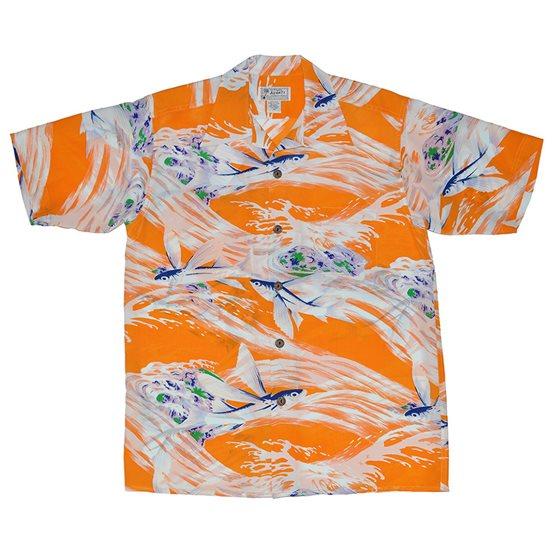 Avanti flying fish orange silk men 39 s hawaiian shirt for Fish hawaiian shirt