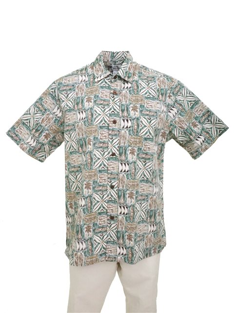 152b60a6 Two Palms Wa'a Green Cotton Men's Reverse Printing Hawaiian Shirt ...