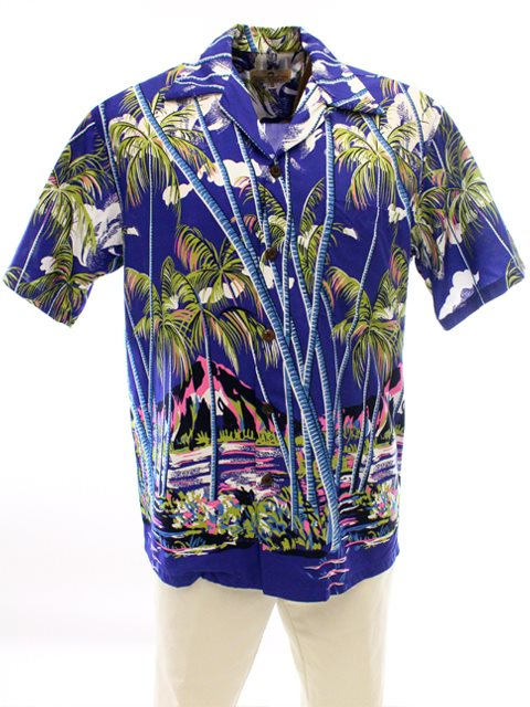 7ae75b073 Pineapple Juice Hawaiian Palm Blue Rayon Men's Hawaiian Shirt ...