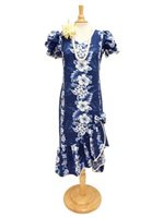 c792427cb Two Palms Pacific Panel Navy Cotton Hawaiian Long Muumuu Dress