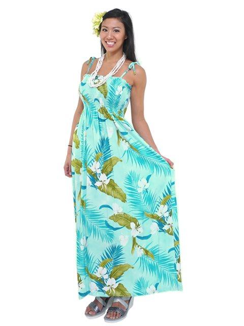 Two Palms Ginger Aqua Rayon Hawaiian Summer Maxi Dress