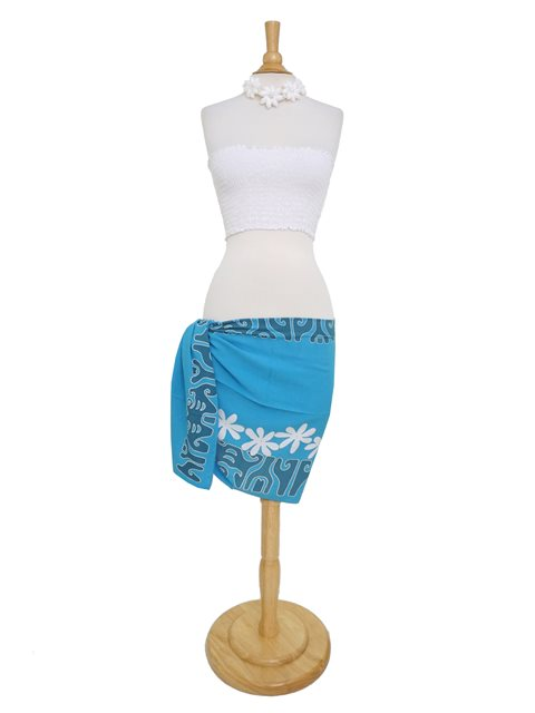 lauhala trading tattoo tiare blue white half size hand printed pareo sarong alohaoutlet. Black Bedroom Furniture Sets. Home Design Ideas