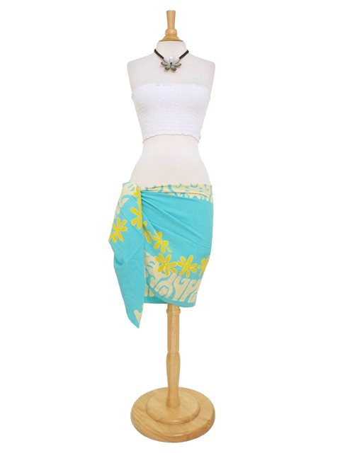 lauhala trading tattoo tiare turquoise yellow half size hand printed pareo sarong alohaoutlet. Black Bedroom Furniture Sets. Home Design Ideas