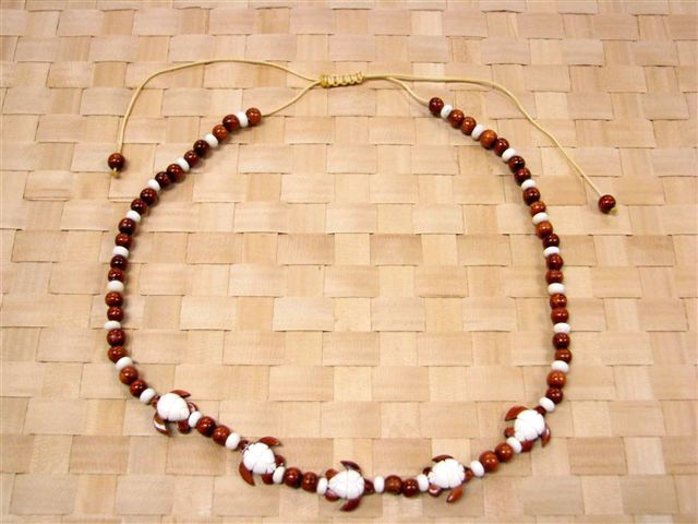 Honu Wood & Bone Bead Necklace