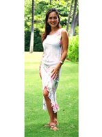 Two Palms Rene Panel White Rayon Hawaiian Midi Dress
