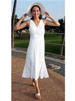 Two Palms Ulu Mat White Rayon Hawaiian Midi Dress