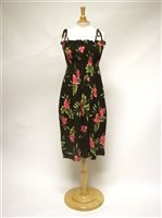 90f558075af46 Two Palms Orchid Fern Black Rayon Hawaiian Summer Midi Dress