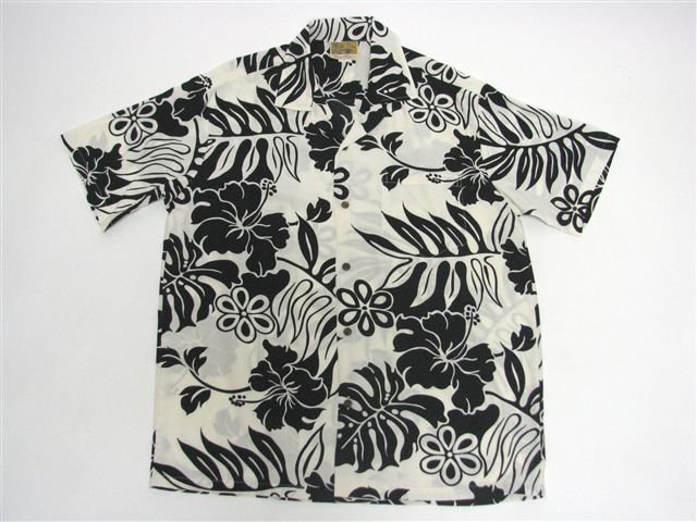 Hibiscus Cream Black Rayon Poplin Men's Hawaiian Shirt