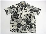 Winnie Fashion Hibiscus Cream Black Rayon Poplin Men's Hawaiian Shirt
