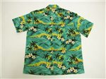 Winnie Fashion The Hawaii Green Cotton Men's Hawaiian Shirt