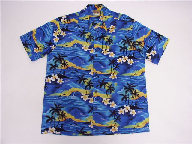 The Hawaii Blue Cotton Men's Hawaiian Shirt