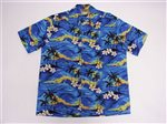 Winnie Fashion The Hawaii Blue Cotton Men's Hawaiian Shirt