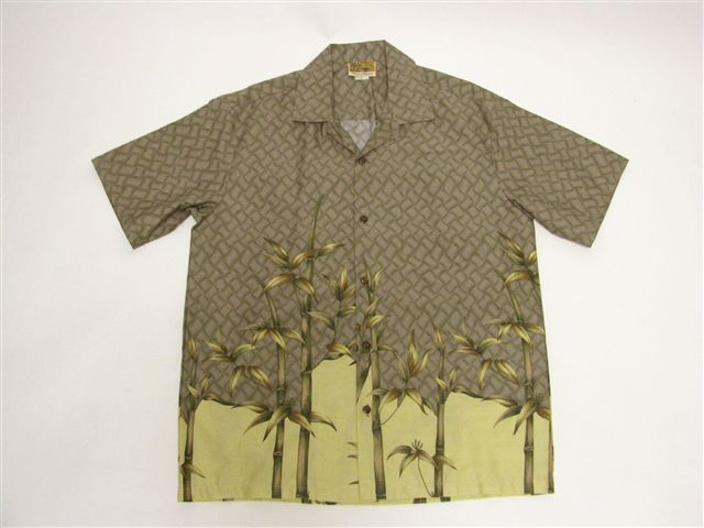 Bamboo Gray Cotton Men's Hawaiian Shirt