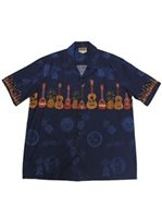 Winnie Fashion Ukulele Navy Cotton Men's Hawaiian Shirt