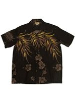 Winnie Fashion Fern Black Cotton Men's Hawaiian Shirt