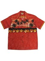 Winnie Fashion The Aloha Red Cotton Men's Hawaiian Shirt