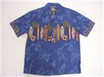 Winnie Fashion Long Board Blue Cotton Men's Hawaiian Shirt