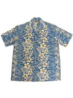 Winnie Fashion Hibiscussy SkyBlue Cotton Men's Hawaiian Shirt