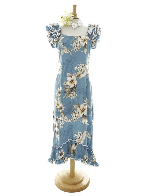 Hibiscus Blue Cotton Hawaiian Ruffle Long Muumuu Dress