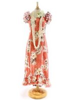 Pacific Legend Hibiscus Peach Cotton Hawaiian Ruffle Long Muumuu Dress
