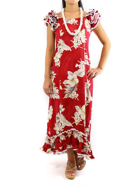 Pacific Legend Hibiscus Red Cotton Hawaiian Ruffle Long Muumuu Dress