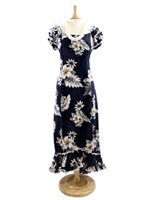 Pacific Legend Hibiscus Navy Cotton Hawaiian Ruffle Long Muumuu Dress