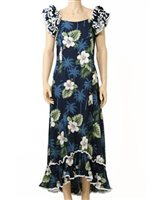 Pacific Legend Hibiscus Monstera Navy Cotton Hawaiian Ruffle Long Muumuu Dress