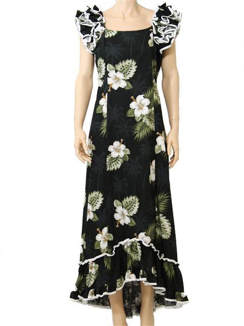 071dad3d087c Pacific Legend Hibiscus Monstera Black Cotton Hawaiian Ruffle Long ...