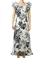 Pacific Legend Hibiscus & Monstera White Cotton Hawaiian Ruffle Long Muumuu Dress