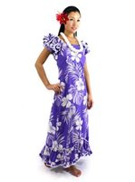 Pacific Legend Hibiscus Purple Cotton Hawaiian Ruffle Long Muumuu Dress