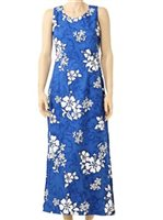 Pacific Legend White Hibiscus Blue Cotton Hawaiian Tank Long Dress