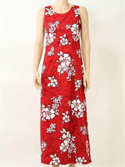 White Hibiscus Red Cotton Hawaiian Tank Long Dress
